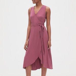 Gap Sleeveless Knit Wrap Midi Dress Sm petite